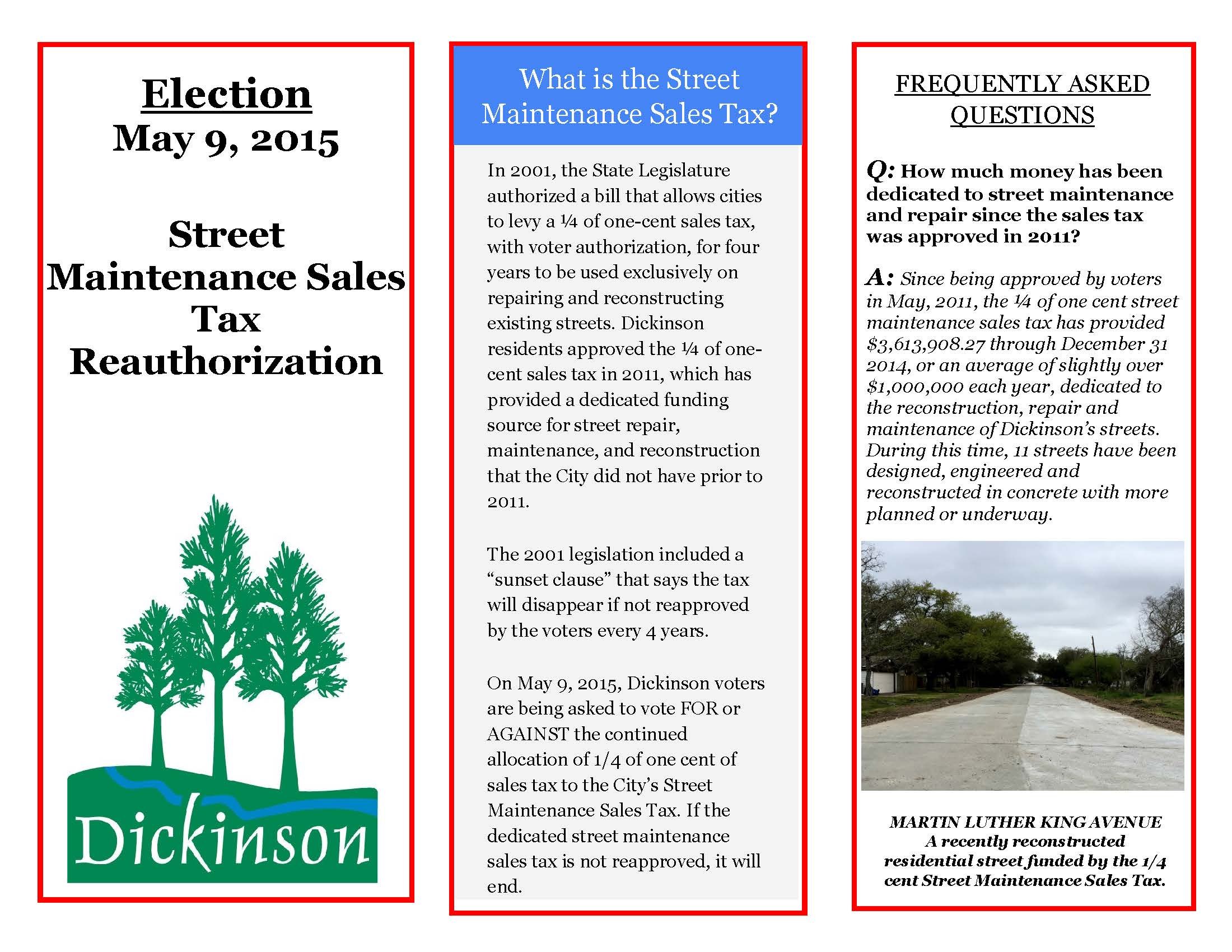 2015 Street Maintenance Sales Tax Election Information, Page 1