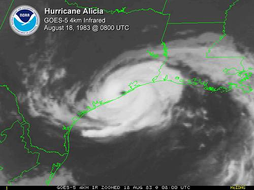 Hurricane Alicia on the Radar Map