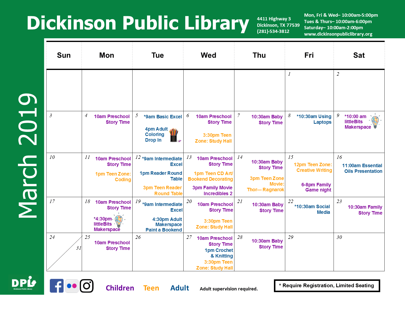 dickinson public library march 2019 calendar events