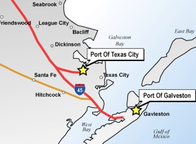 Map of the Port of Texas City and Port of Galveston locations