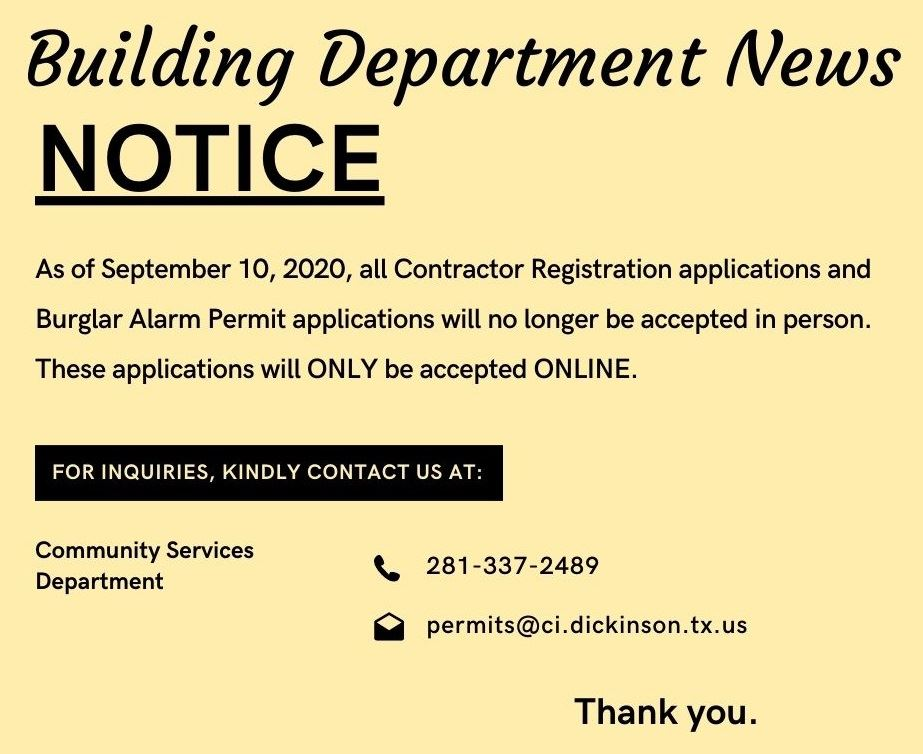 Bldg Dept News